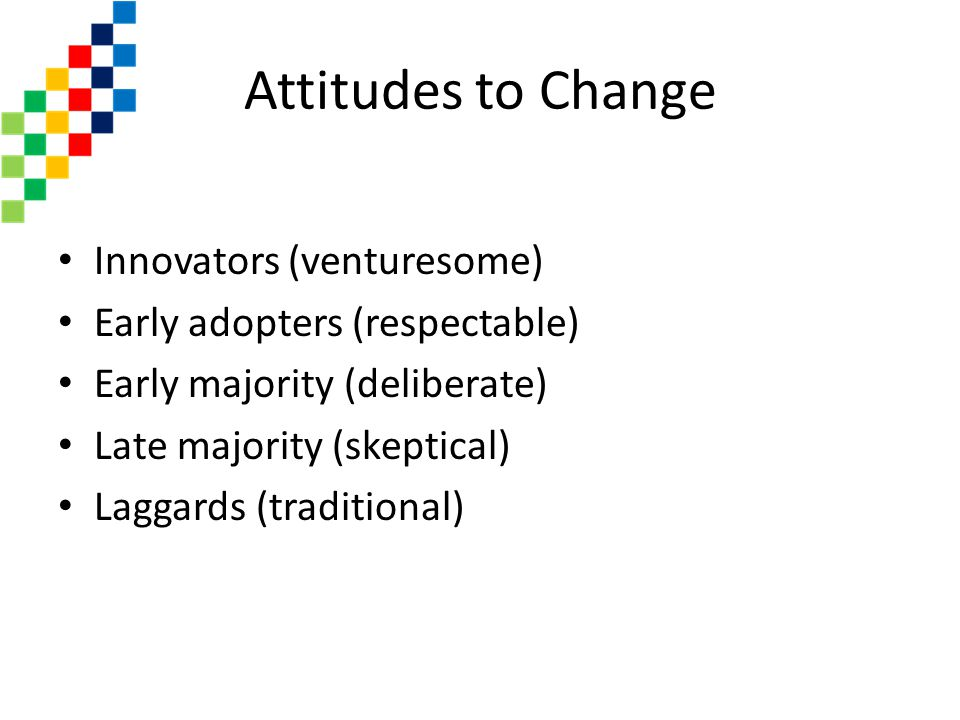 Attitudes to Change Innovators (venturesome)