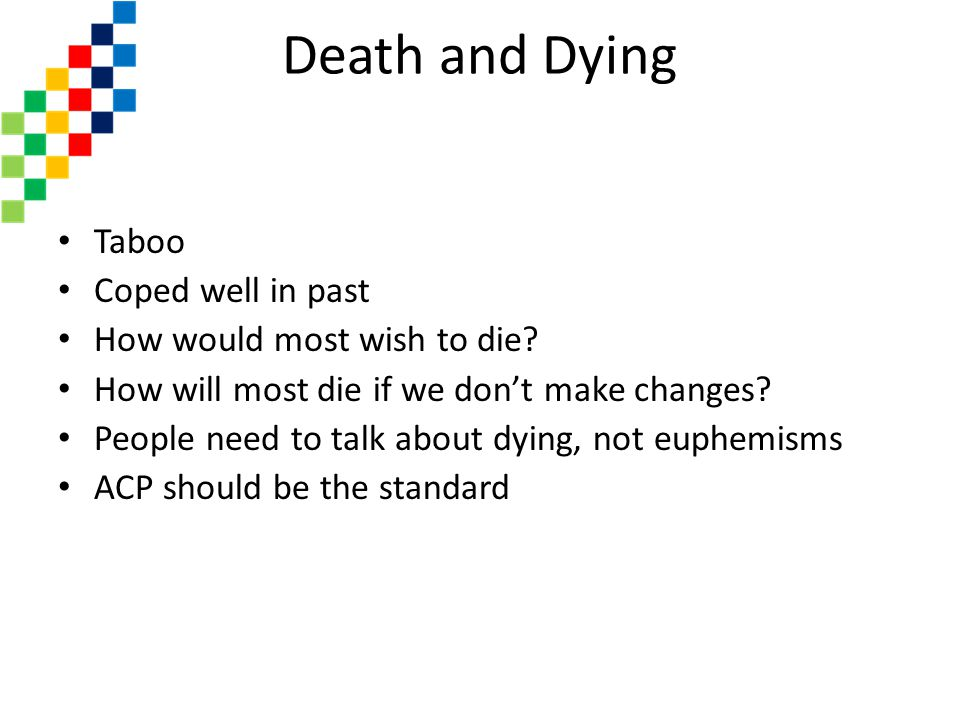 Death and Dying Taboo Coped well in past How would most wish to die