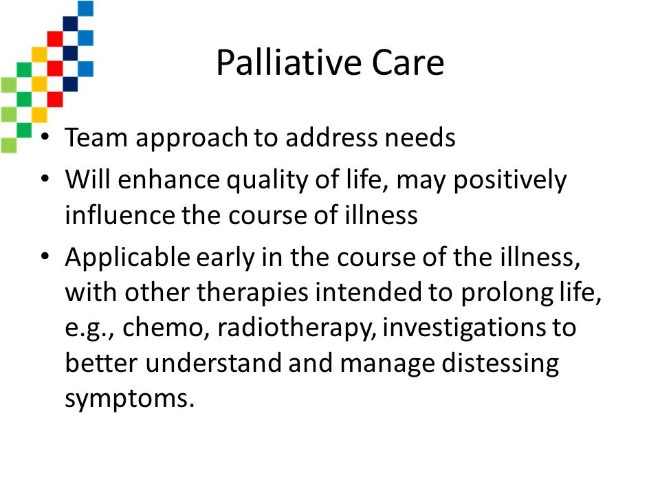 Palliative Care Team approach to address needs