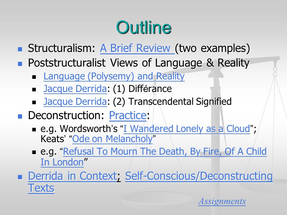 deconstruction post structuralism and the use of binaries in language Through deconstruction, derrida aims to erase the boundary between binary   that every ambiguity serves a definite, meaningful, and demonstrable literary  function  so, post-structuralists assert that if we cannot trust language systems  to.