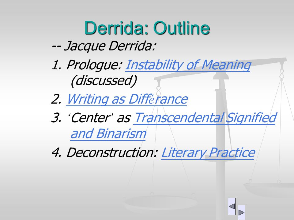 derrida differance essay summary Get a good night's sleep have a hearty meal turn off your cell phone trust us—it's about to get real studying jacques derrida (1930-2004) isn't for those prone.