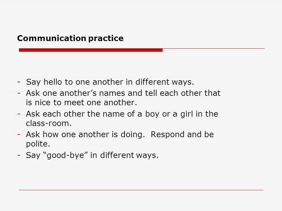 Communication practice