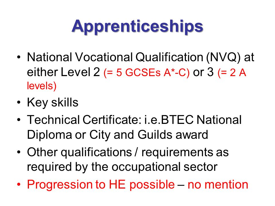 Apprenticeships National Vocational Qualification (NVQ) at either Level 2 (= 5 GCSEs A*-C) or 3 (= 2 A levels)