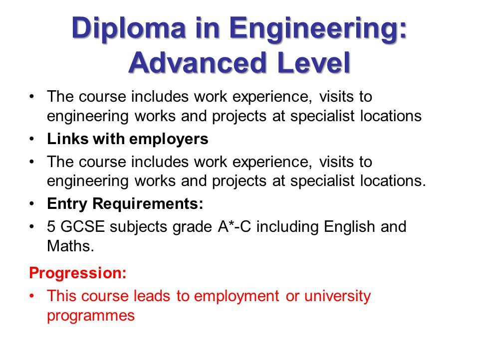 Diploma in Engineering: Advanced Level