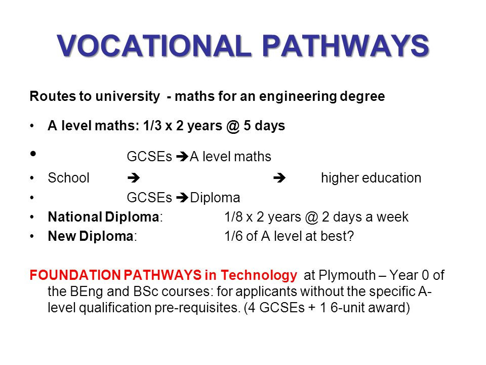 VOCATIONAL PATHWAYS GCSEs A level maths
