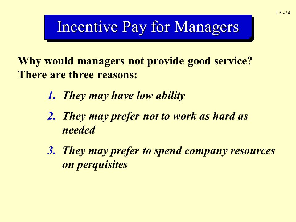 Incentive Pay for Managers