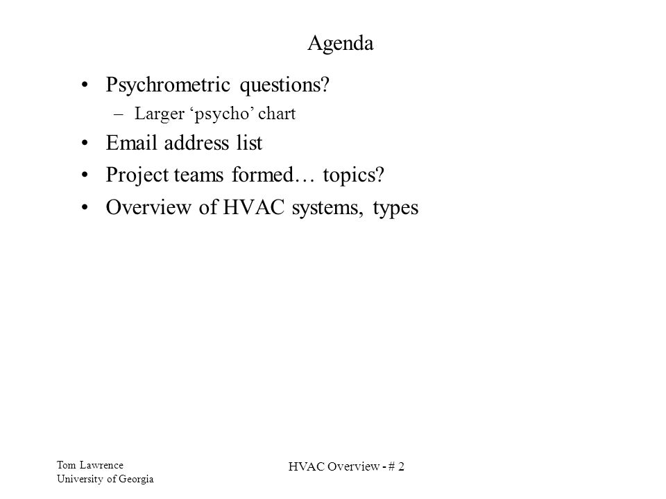 Psychrometric questions  address list