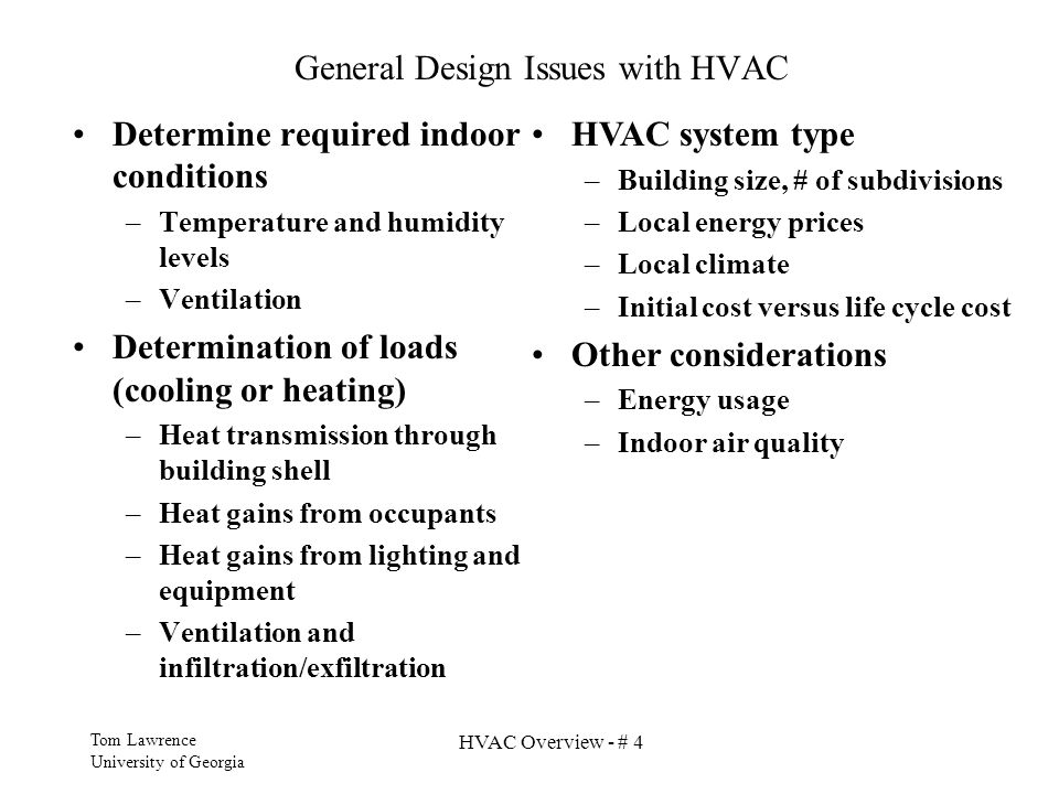 General Design Issues with HVAC
