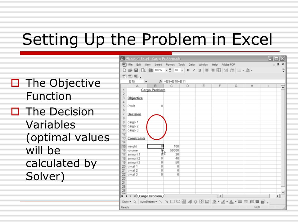 Setting Up the Problem in Excel