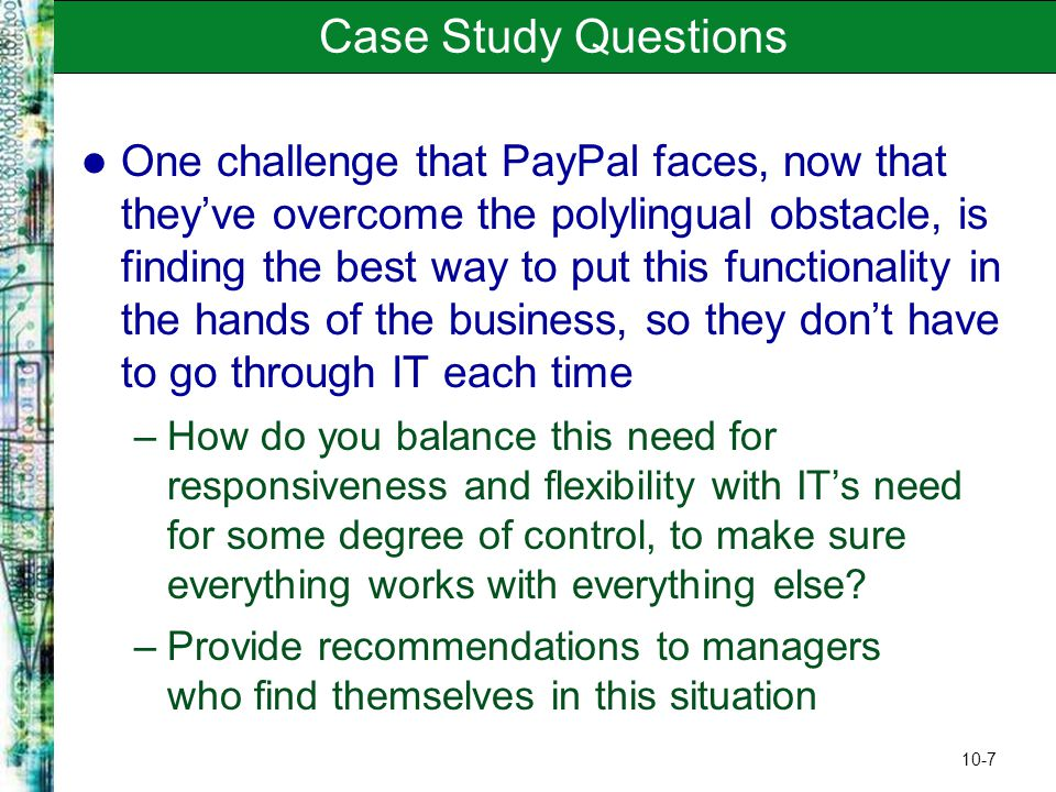 possible enron case study questions The enron case study: history, ethics and governance failures introduction: why enron why pick enron the answer is that enron is a well-documented story and we can apply our approach with the great benefit of hindsight to show how the end result could have been predicted.