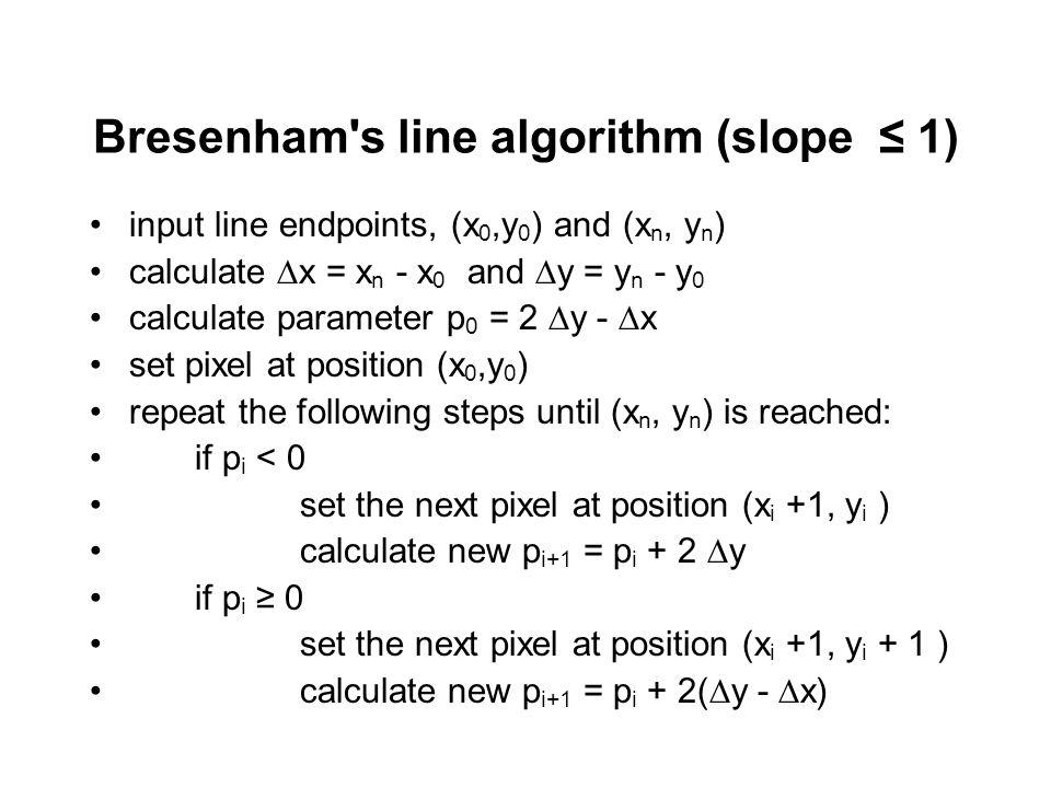 Bresenham Line Drawing Algorithm For Slope M 1 : Raster conversion algorithms for line and circle ppt