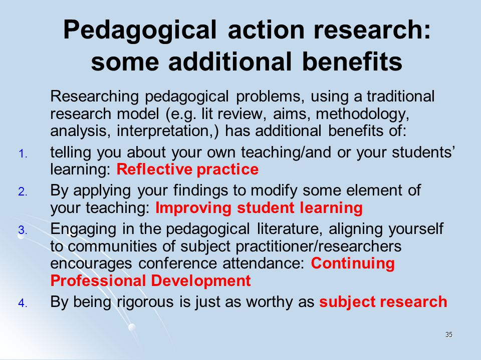 benefits of action research Advantages and disadvantages of action research design advantages (university of southern california) a collaborative and adaptive research design that lends itself to use in work or.