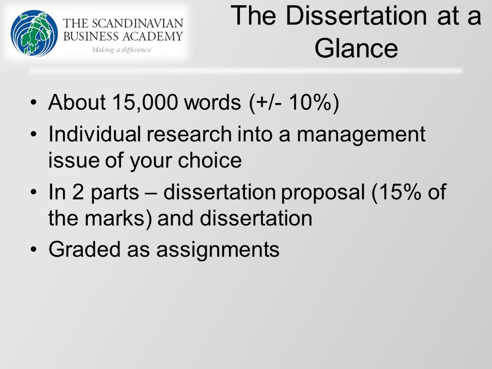 different parts of a dissertation