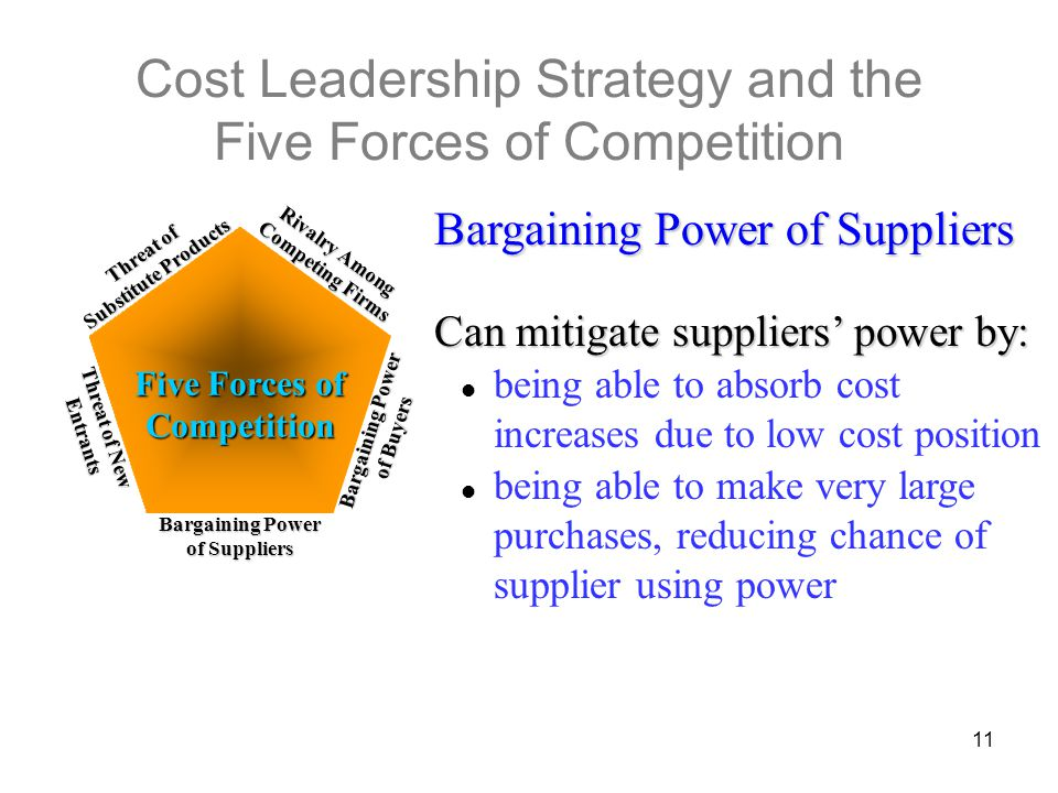 low bargaining power of suppliers The bargaining power of suppliers comprises one of the five forces that determine the intensity of competition in an industry the others are barriers to entry, industry rivalry, the threat of substitutes and the bargaining power of buyers power of supplier group.