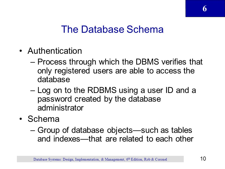 The Database Schema Authentication Schema