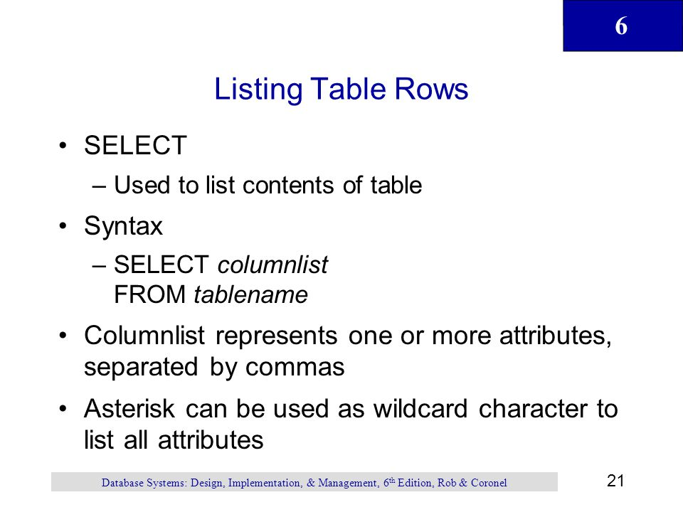 Listing Table Rows SELECT Syntax