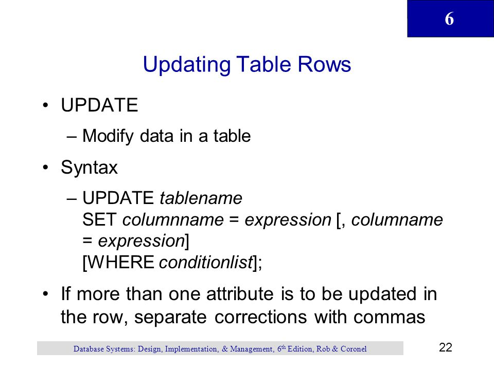 Updating Table Rows UPDATE Syntax