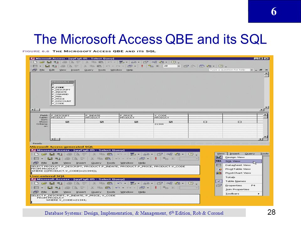 The Microsoft Access QBE and its SQL