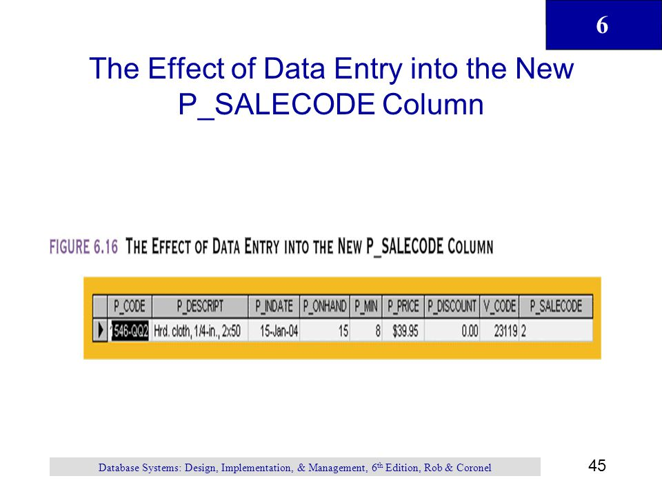The Effect of Data Entry into the New P_SALECODE Column