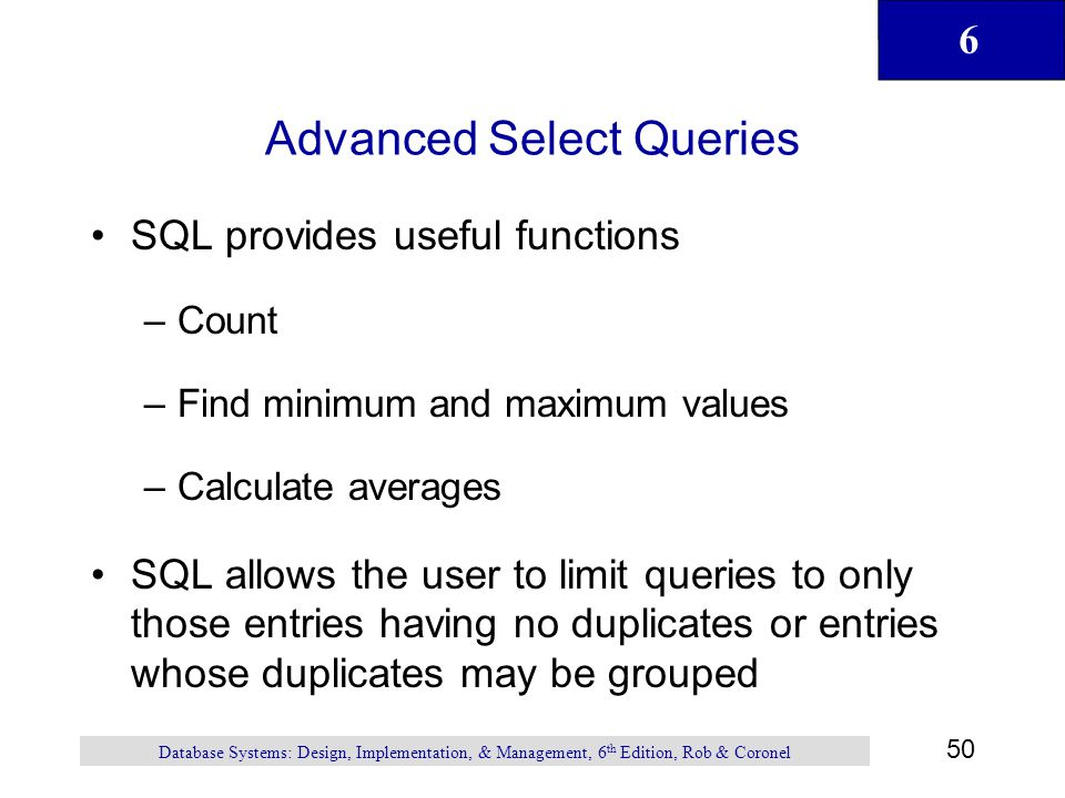 Advanced Select Queries