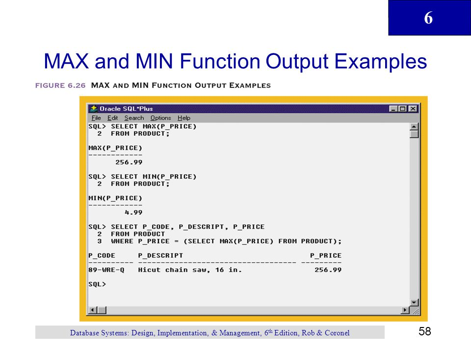 MAX and MIN Function Output Examples