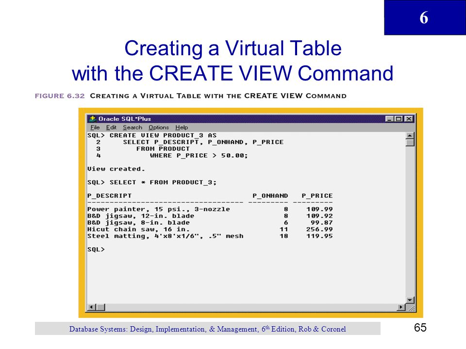 Creating a Virtual Table with the CREATE VIEW Command