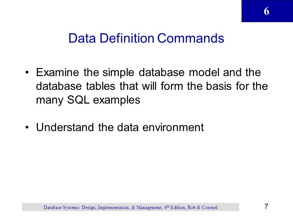 Data Definition Commands