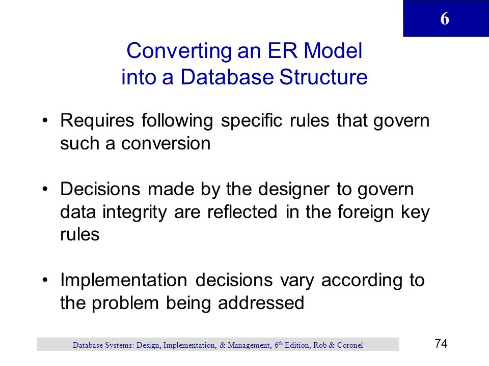 Converting an ER Model into a Database Structure