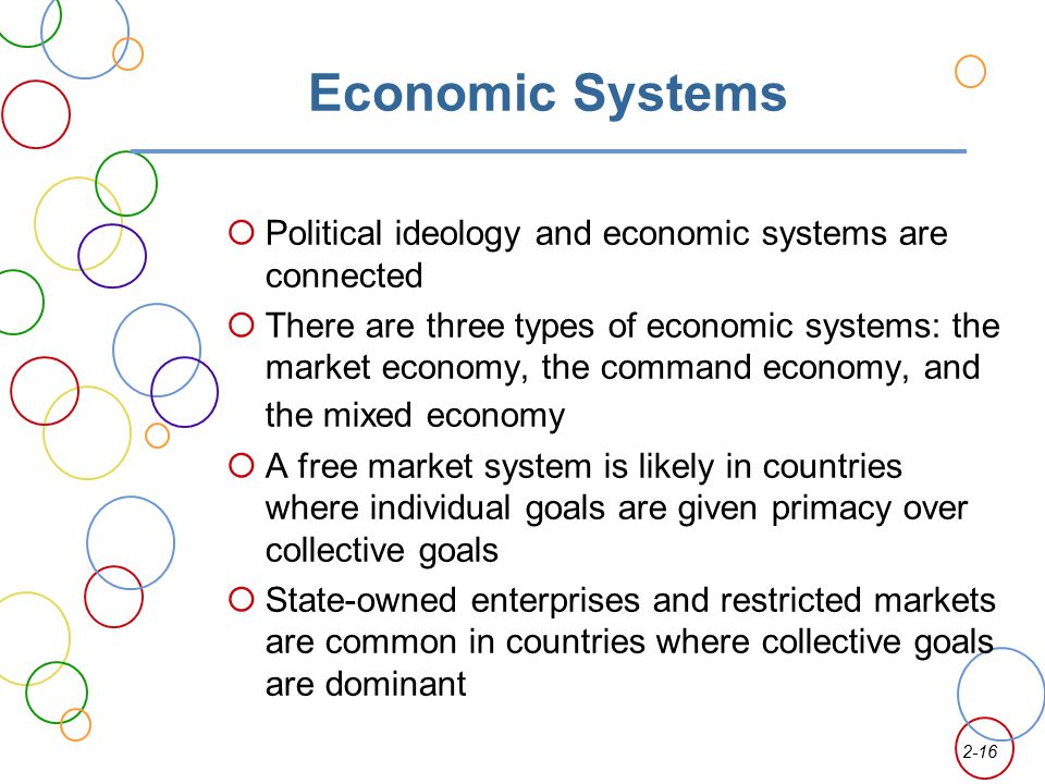 Economic Systems Political ideology and economic systems are connected