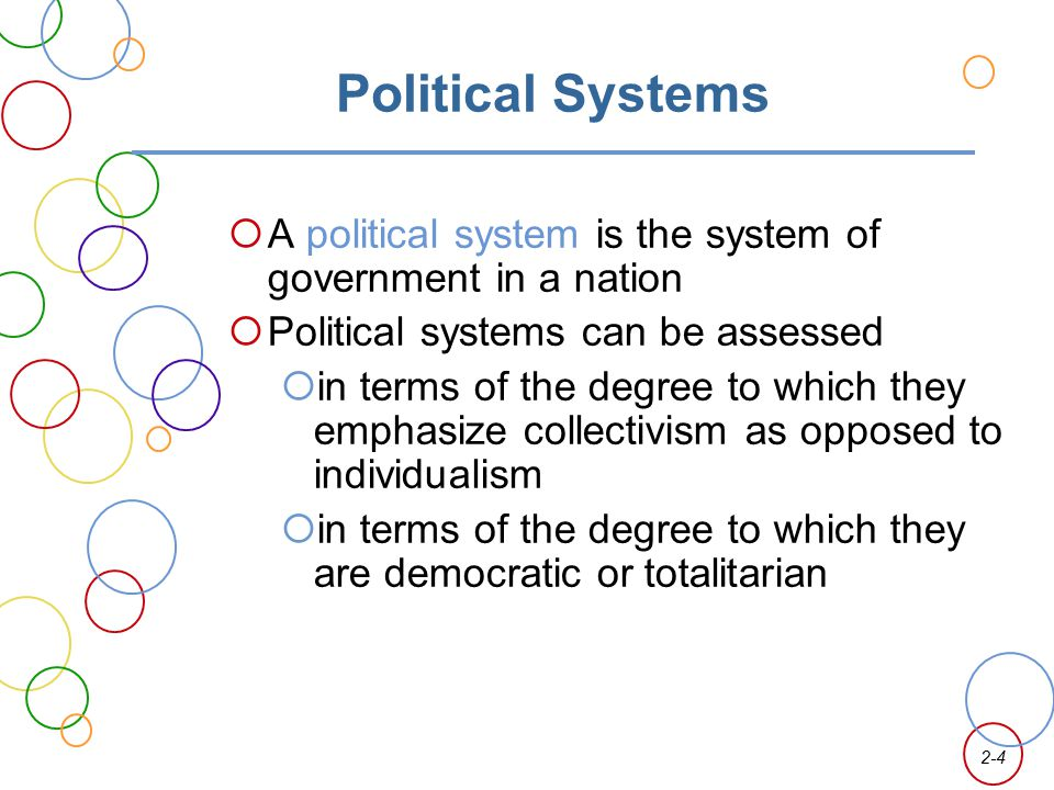 Political Systems A political system is the system of government in a nation. Political systems can be assessed.