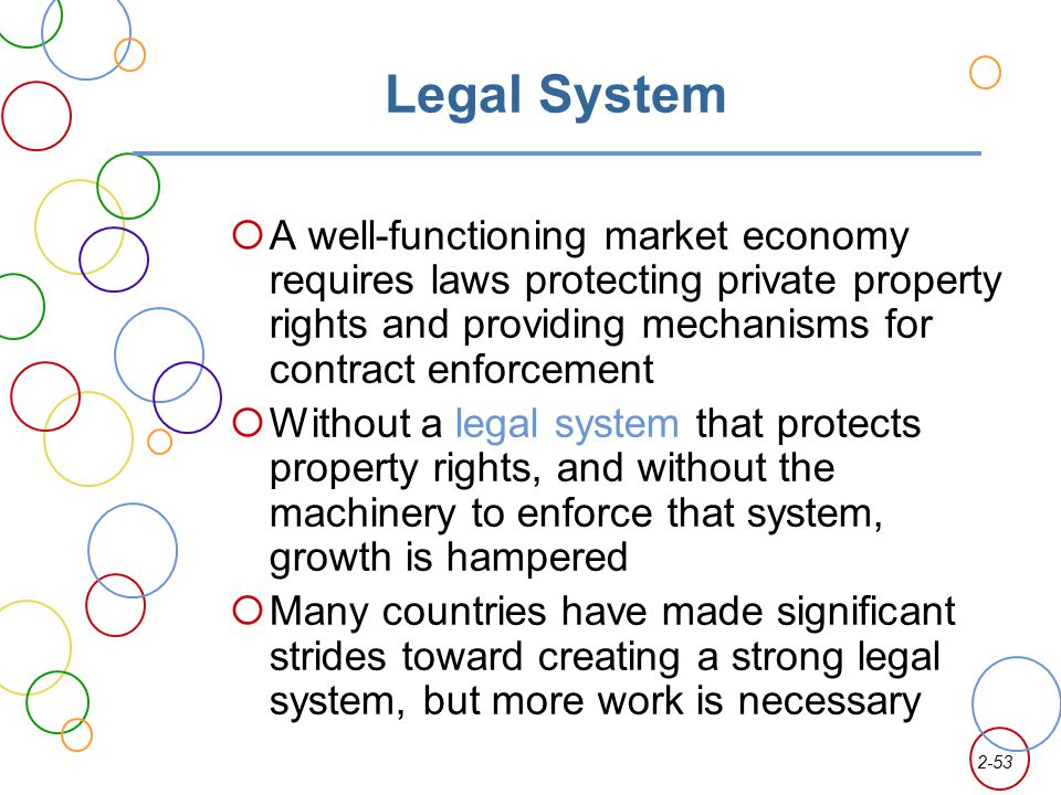 Legal System A well-functioning market economy requires laws protecting private property rights and providing mechanisms for contract enforcement.