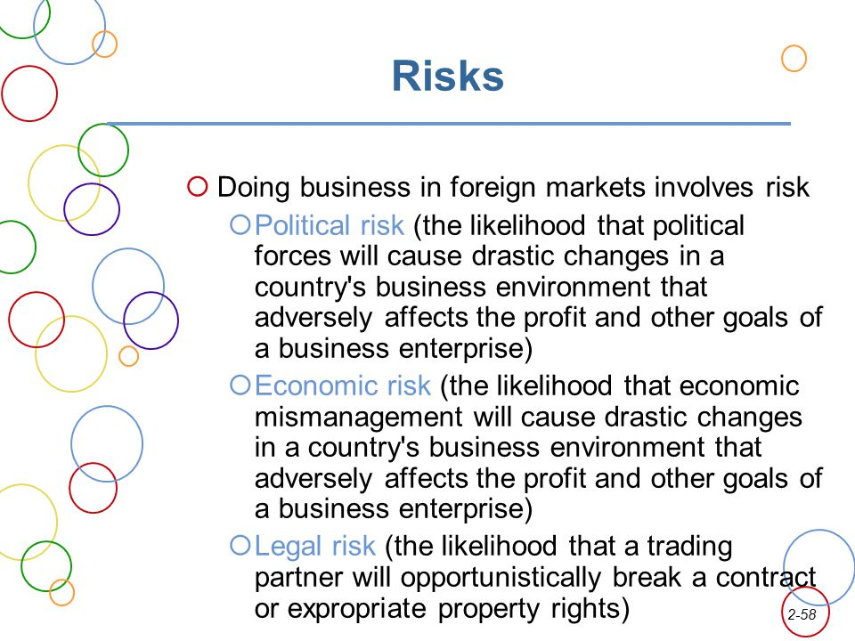 Risks Doing business in foreign markets involves risk