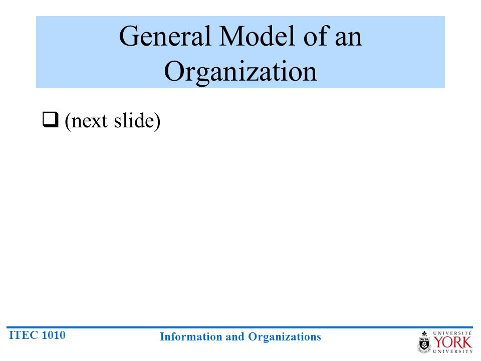 General Model of an Organization
