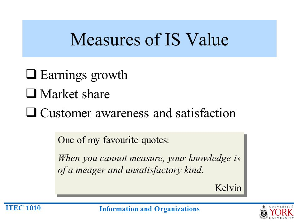 Measures of IS Value Earnings growth Market share