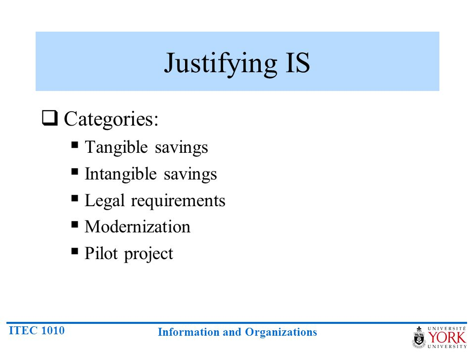 Justifying IS Categories: Tangible savings Intangible savings