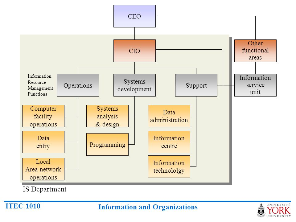 IS Department CEO CIO Other functional areas Operations