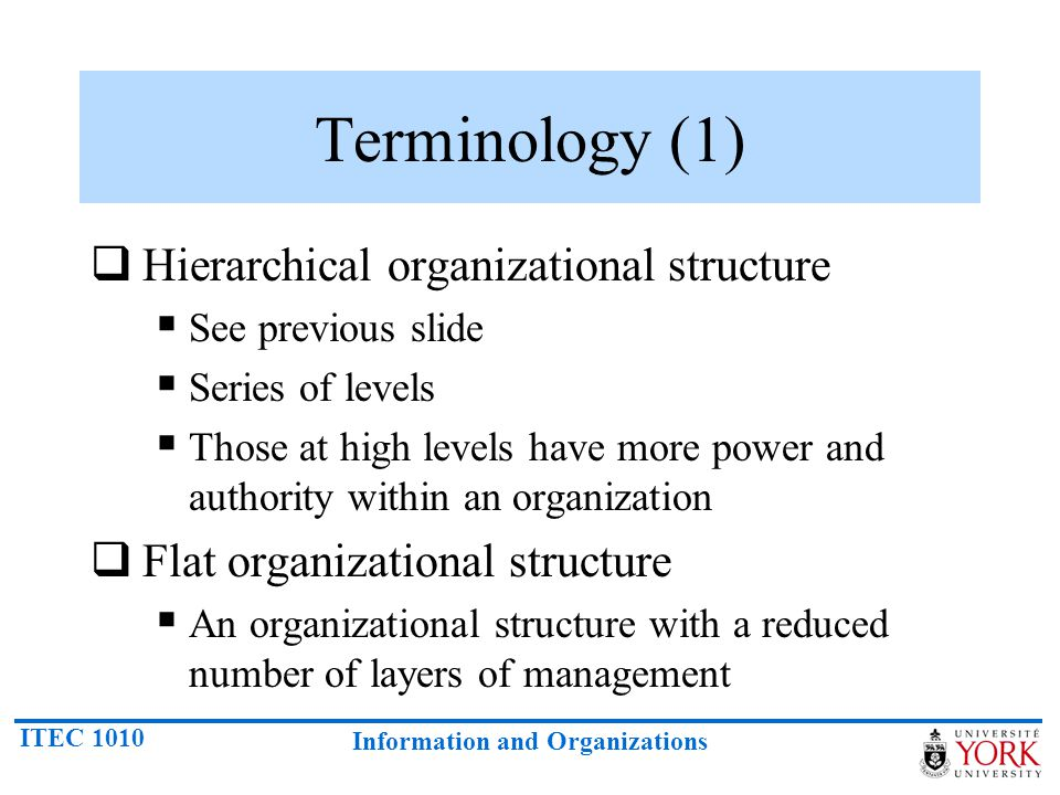 Terminology (1) Hierarchical organizational structure