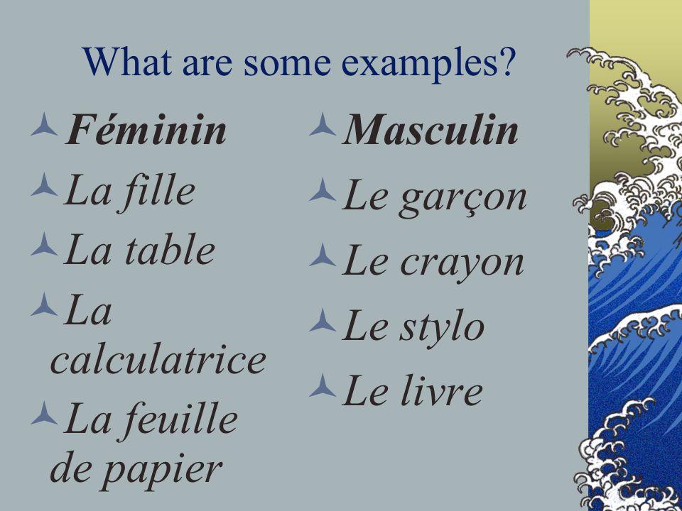 Masculin Féminin Le garçon La fille La table Le crayon La calculatrice