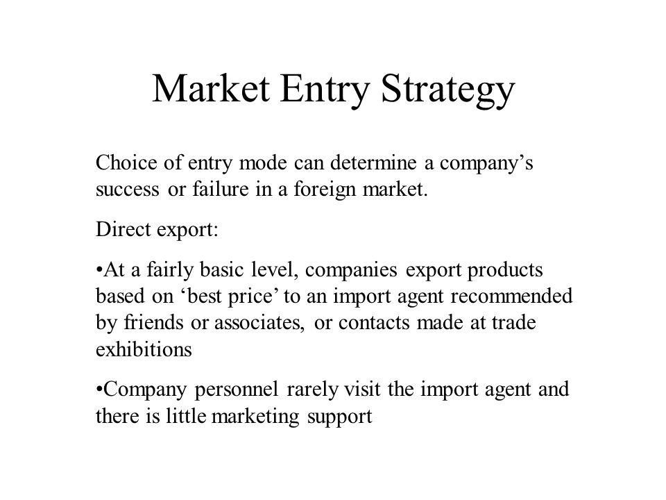 market export strategy The influence of adaptation and standardization of  but their study did not consider adaptation and standardization of the  export marketing strategies in.