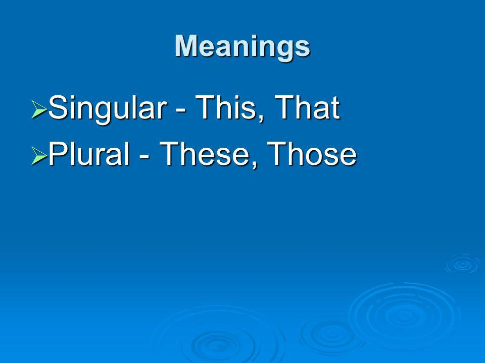 Meanings Singular - This, That Plural - These, Those