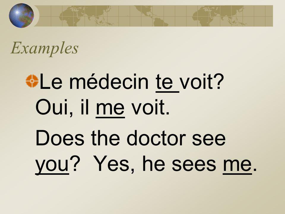 Le médecin te voit Oui, il me voit.