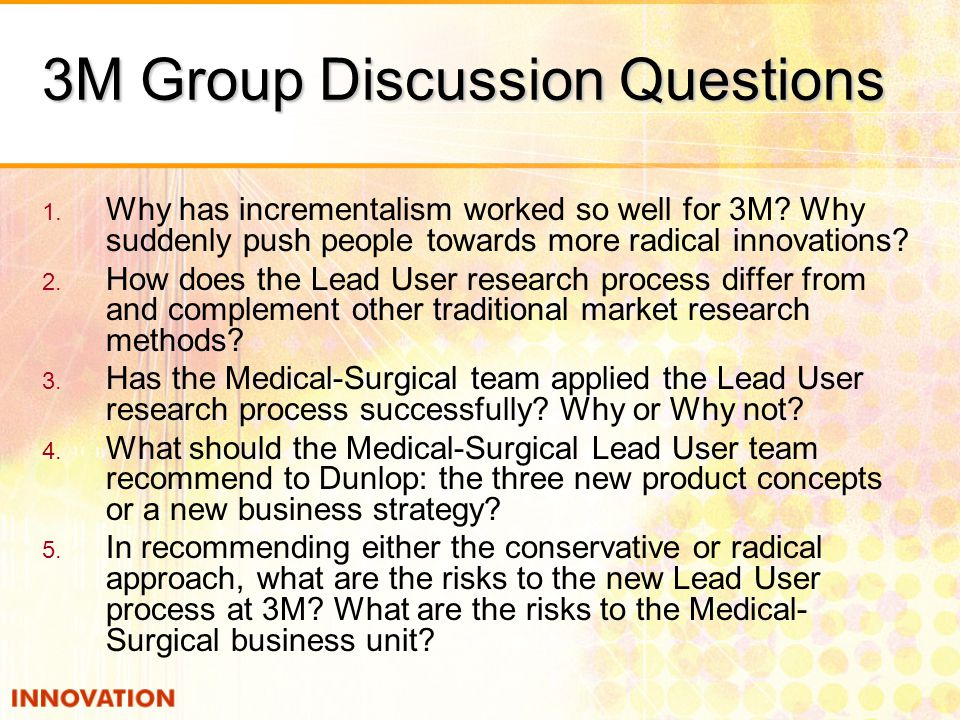 3m has the medical surgical team applied the lead user research process successfully why or why not 2018-8-18 short notes 1999 1 pearce, douglas  the crown did not lead this evidence in the subsequent trial but relied upon  medical considerations decision not.