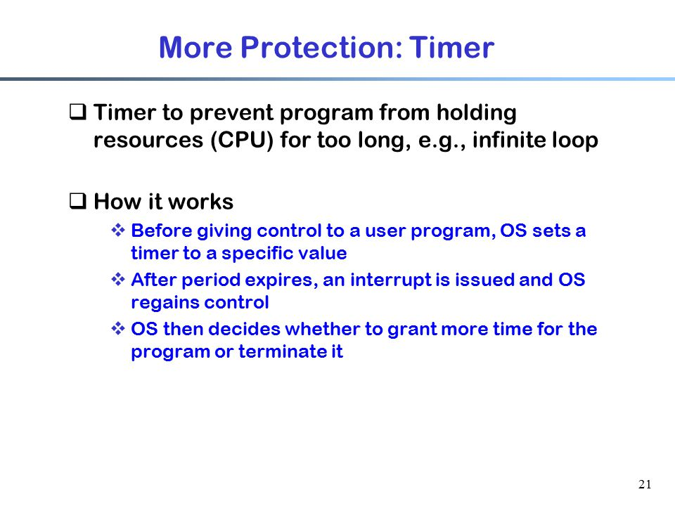 More Protection: Timer