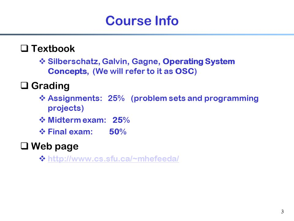 Course Info Textbook Grading Web page