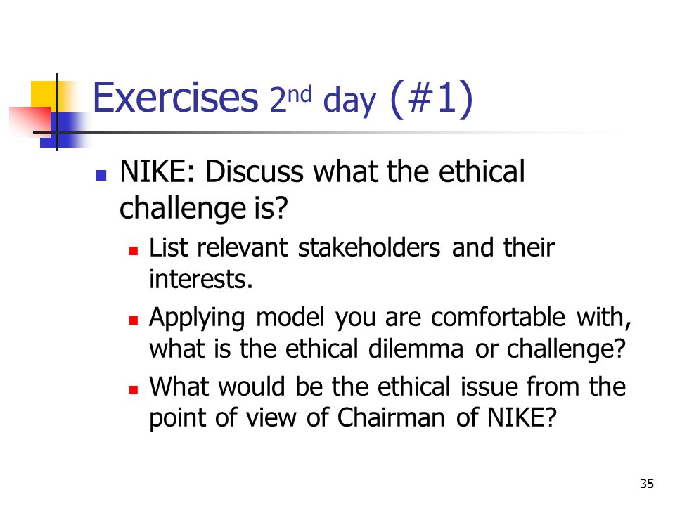 nike ethical issues The main ethical issue that arose was how to be sure that the information that was being used was being used with the implied consent of the authors in the case of biblically available information such as the annual report for nikkei this implied consent can be taken to be automatic, as the purpose of the annual report is to inform individuals.