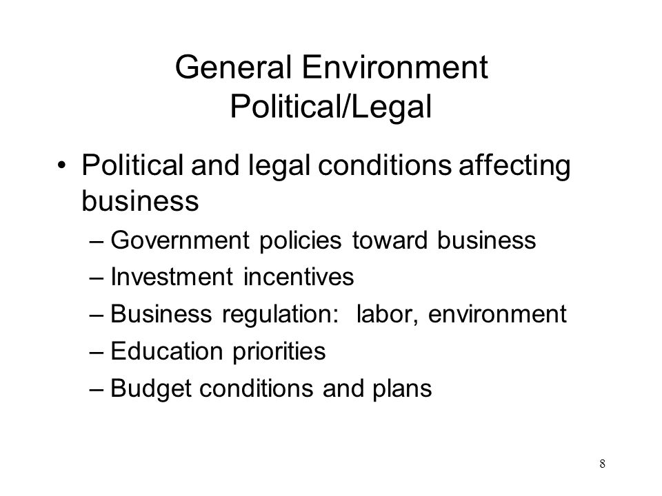 political legal environment affecting the economy of Political economy most commonly refers to interdisciplinary studies drawing upon economics, sociology and political science in explaining how political institutions, the political environment, and the economic system—capitalist, socialist, communist, or mixed—influence each other.