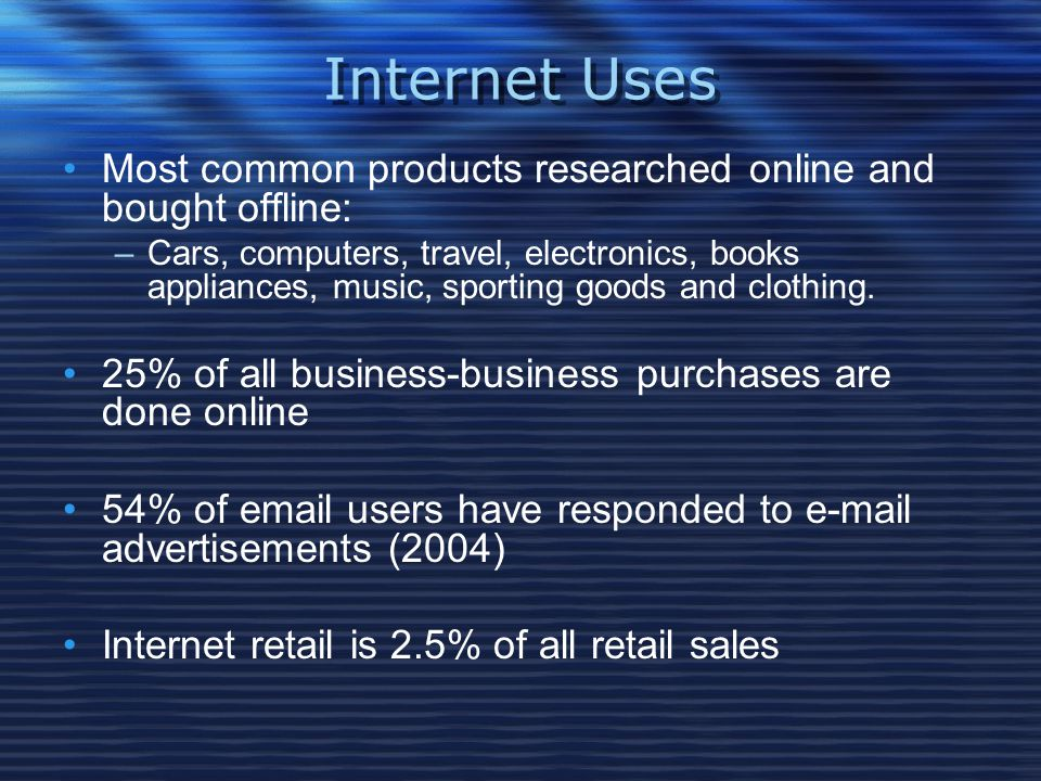 Internet Uses Most common products researched online and bought offline:
