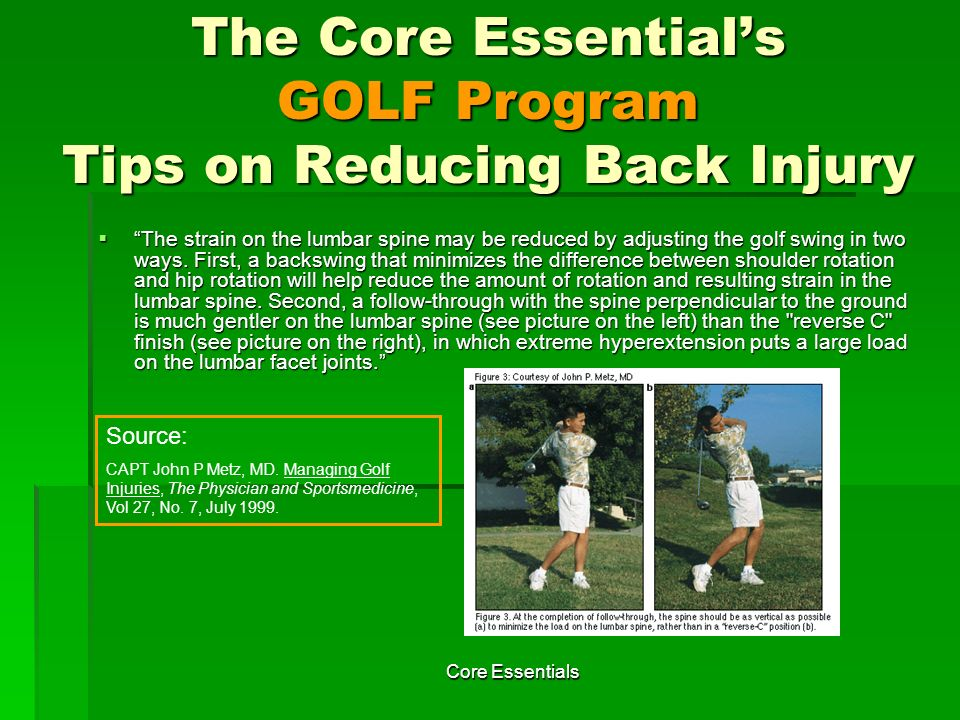 The Core Essential's GOLF Program Tips on Reducing Back Injury
