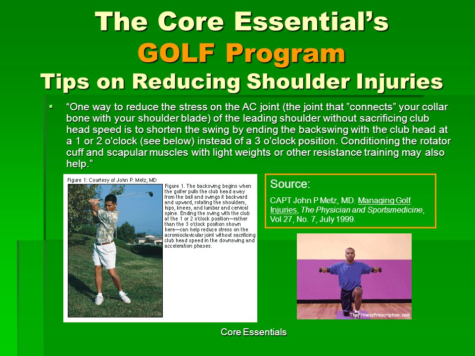 The Core Essential's GOLF Program Tips on Reducing Shoulder Injuries