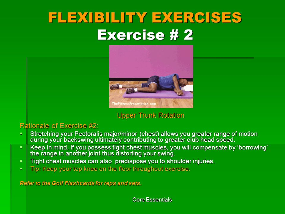 FLEXIBILITY EXERCISES Exercise # 2